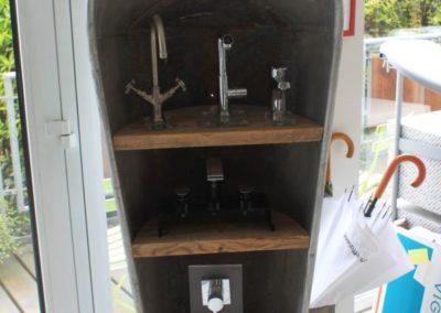 Badwanne mit Waschtischgarnitur Ecktoilette mit Unterputzdrückergarnitur Badausstellung Firma Daum Heizung- Sanitär Bensheim GmbH