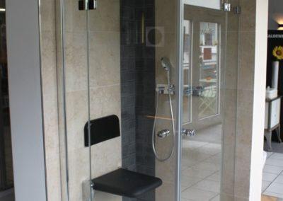 Dusche mit Sitzgelegenheit Badausstellung Firma Daum Heizung- Sanitär Bensheim GmbH